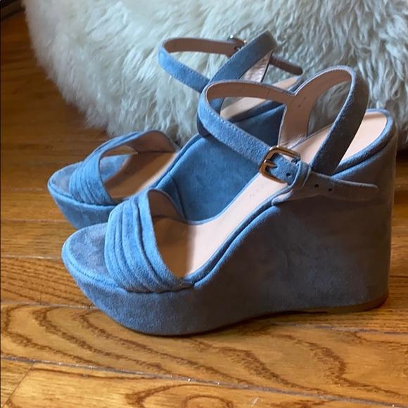 Stuart Weitzman Blue Suede Leather Wedge Sandals